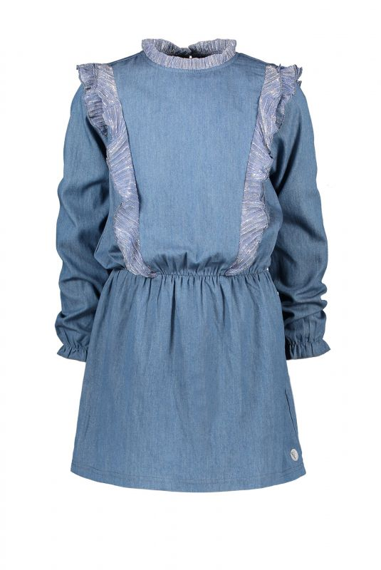 Moodstreet Denim jurk ruffles (soft blue)