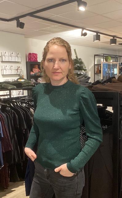 Jacqueline de Yong Glitter top met pofmouwen  (Groen & Zwart)